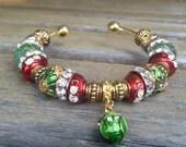 Snowman Bead, Charm Bracelet, Christmas Present, Stocking Stuffer, Beaded Jewelry, Gift for Her, Cuff Bracelet, Worldwide Shipping