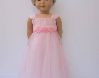 "Pale pink illusion gown with detachable chiffon rose sash for 18"" dolls such as American Girl and My Imagination"