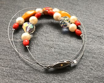 Floating Ceramic Bead and Crystal bracelet