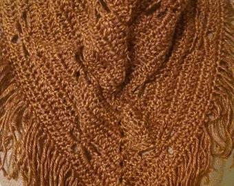 Outlander Dragonfly in Amber crocheted boho scarf