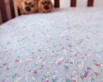 Handmade Feathers Fitted Flannel Cot Sheet