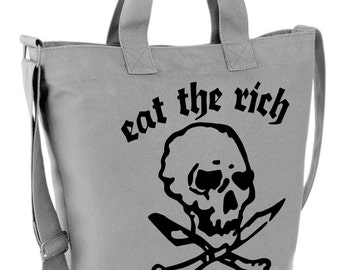 Eat the Rich Canvas Day Bag Retro Graphic Design NEW