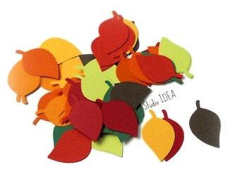 """2"""" Leaf Cut-outs - Mixed Fall Color Leaves Confetti - or Choose Your Colors"""