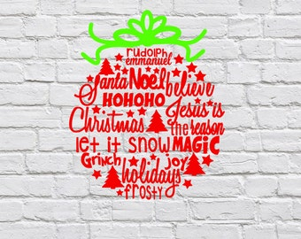 Christmas Ornament Vinyl Decal, Word Cloud Ornament Decal, Holiday Decor, Christmas Sticker