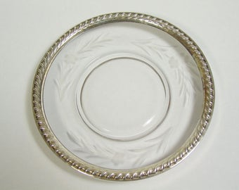 Beautiful etched glass roped rim sterling edge Bread plate/saucer, vintage etched flower six inch plate