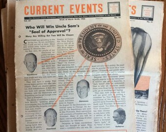 Vintage Current Events Newspapers - 1950's
