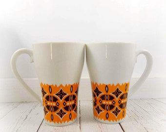 Stylecraft Coffee Cups,Retro Orange and Brown Mugs, Porcelain cup,mug,orange and brown,retro design,vintage,1970s,ceramics and pottery