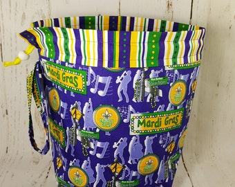 Mardi Gras Band Celebration Drawstring Bag, Knitting project bag, Medium Drawstring Bag, Knitting Drawstring Bag DSM0003