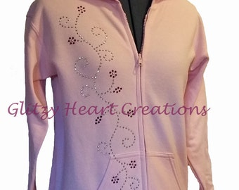 Flower Vine Design Hoodie, Rhinestone Full Zip, Womens Hoodie, Womens Crystal Full Zip, Rhinestone Decorated, Bling sweatshirt, full zip