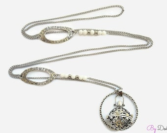 Bola of pregnancy saltire stainless steel white snowflake silver plated jewelry of creation By Dodie