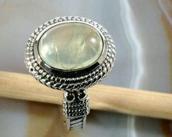 Green moonstone  and 925 Sterling Silver, Ring  --  6287