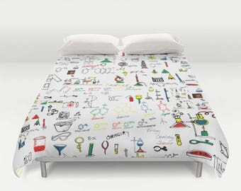 Science Lab Duvet Cover Twin/TwinXL/Double/Queen/King Microbiology Chemistry Art Lab  Bedroom Bed Home Decor Duvet Bedding Home and Living