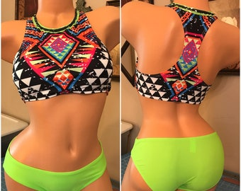 Lime Green/Multi-Colors 2pc Swimsuit