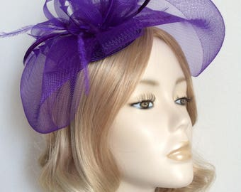 PURPLE  FASCINATOR, Made of crin, feathers, all mounted on a matching headband