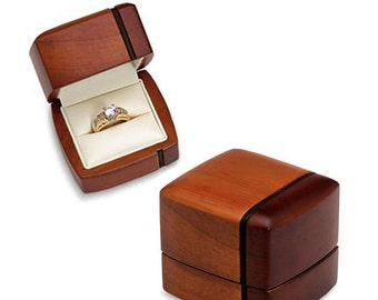 Regal Genuine Wood Engagement Wedding Ring or Band Presentation Box