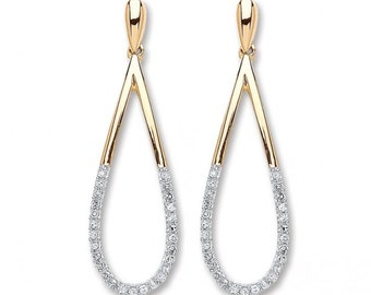 9ct Yellow Gold 0.15ct Diamond Drop Earrings