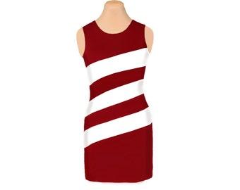 Deep Red + White Diagonal Stripe Dress