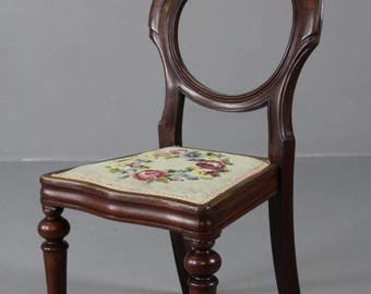 Single Mahogany Balloon Back Dining Chair