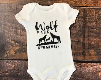 Wolf pack, wolf pack newest member, newest member, new baby, baby shower, newborn bodysuit