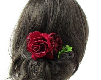 Burgundy Deep Red Blackberry Berry Rose Flower Hair Comb Bridesmaid Bridal 2252
