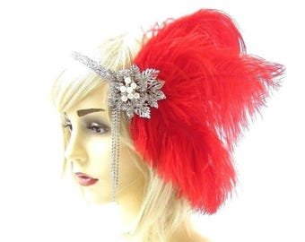 Red Silver Feather Headpiece Vintage 1920s Flapper Headband Great Gatsby 2352
