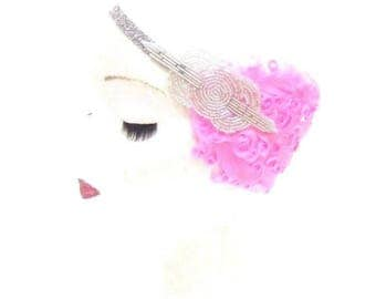 Pink Silver Feather Headband 1920s Flapper Great Gatsby Vintage Headpiece 2771