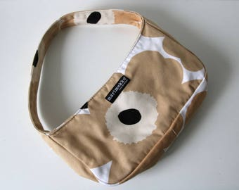MARIMEKKO Beige White Black Cotton Naive Flower Print Bag Handbags Made in Finland