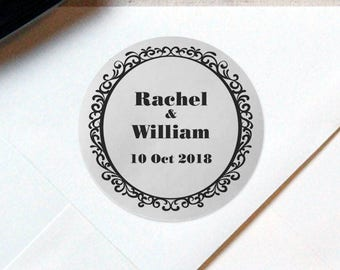 SIiver Foil Personalized Wedding Candy wrappers/ stickers for Favors / envelope seals #D