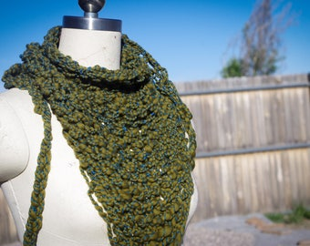 Olive and Blue Handspun Triangle Scarf