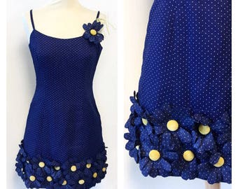 SALE -20% 60s Pirovano Dress - Vintage Dots Dress - 60s A-line Cotton Dress Size S/M