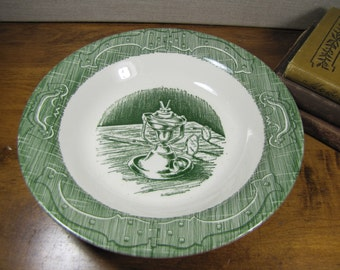 Royal China - The Old Curiosity Shop - Shallow Bowl - Oil Lamp and Eyeglasses - Green and White