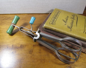 Andruck - Green Painted Wooden Handle Hand Beater - Vintage Kitchen Utensil
