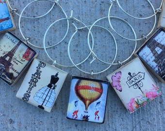 Scrabble Tile Wine Charms, Paris Wine Charms, Bonjour Wine Charms, I Love Paris, Wine Markers