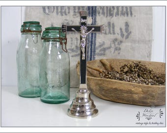 French Crucifix of metal - country living