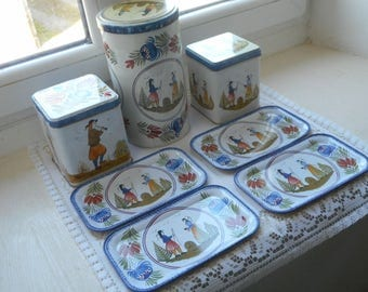 stunning vintage French metal biscuit tin / storage tin set with biscuit plates
