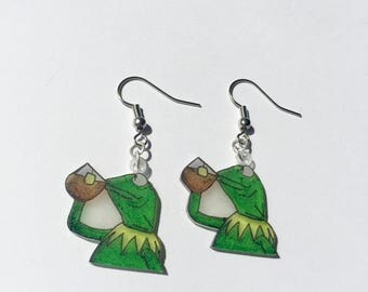 Kermit the Frog Tea - But That's None of My Business Meme Earrings