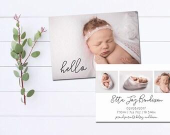 Printable Birth Announcement, The 'Etta', DIY Printable, Double Sided