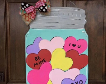 Heart Mason Jar Door Hanger Wood Hand Painted