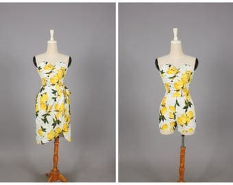 "CURSTIE 2 Piece Playsuit and Sarong Wrapped Skirt ""Freshly Squeezed"" Retro Lemon Fruit Print Yellow Lemons"