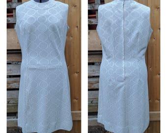 Vintage 1960's Silver Sparkle Henry Allen Mod Short Mini Gogo Fortrel Polyester Dress