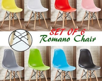 Set of 6 ROMANO Retro Style Chair design / chaise Retro design scandinave Dining Chair or Office Chair