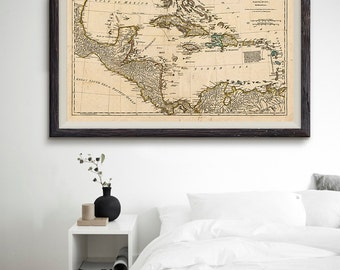 Map of the West Indies, Antilles Map, World Old Map, Caribbean Map, Travel Art Poster, Home Decor- CP006