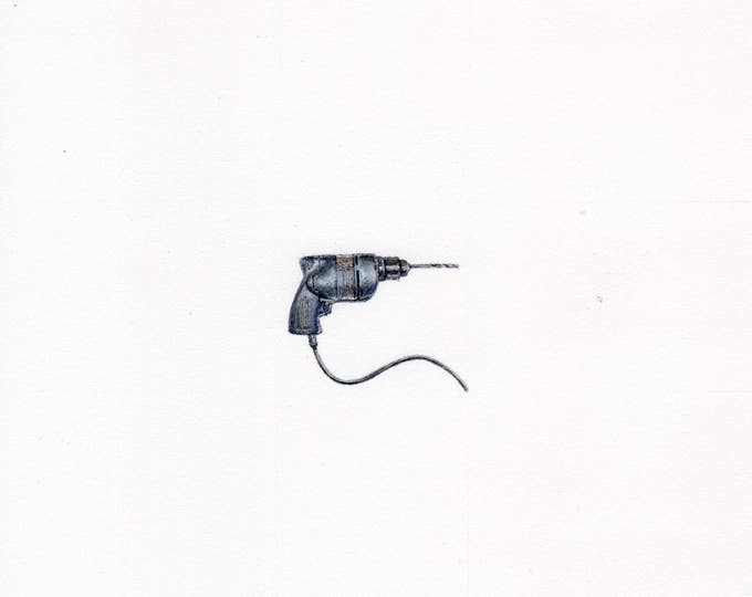 "Print of miniature painting of an Electric Drill. 1 1/4 x 1 1/4"" print of an Electric Drill painting on 5"" square german etching paper"