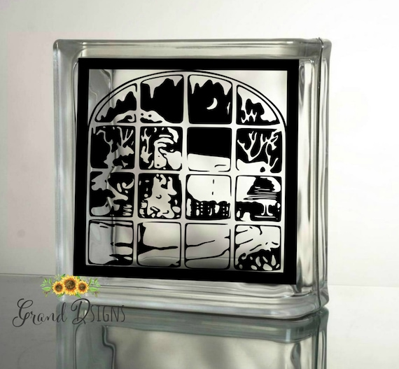 Winter Scene Decal Christmas Decals For Glass Blocks Vinyl - How to make vinyl decals for glass blocks