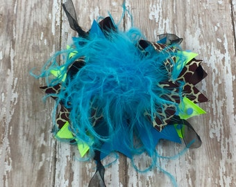 Teal and Giraffe Over-the-Top Hairbow