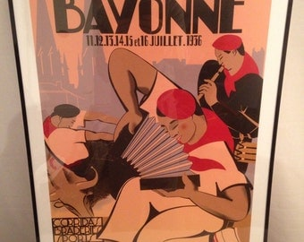 Poster Bayonne old 1936 first new Repro Basque country holiday party