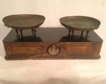 Dangles antique wood brass dual Rare Vintage merchant
