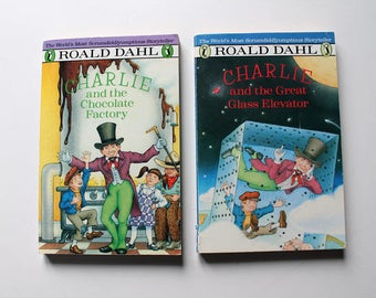 Set of 2 Roald Dahl Paperback Books Charlie and the Chocolate Factory and The Great Glass Elevator 1988