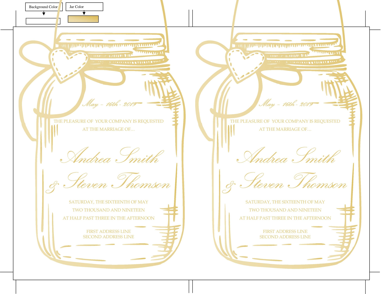 Gold Mason Jar Wedding Invitation Template, DIY Gold Baby Shower ...