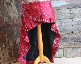New! M-L, ROSE SNOW,  Adjustable, Silk Sari, Skirt, Short Long, Tribal, Burning Man, ATS, Belly Dance, Bohemian, Steam Punk,